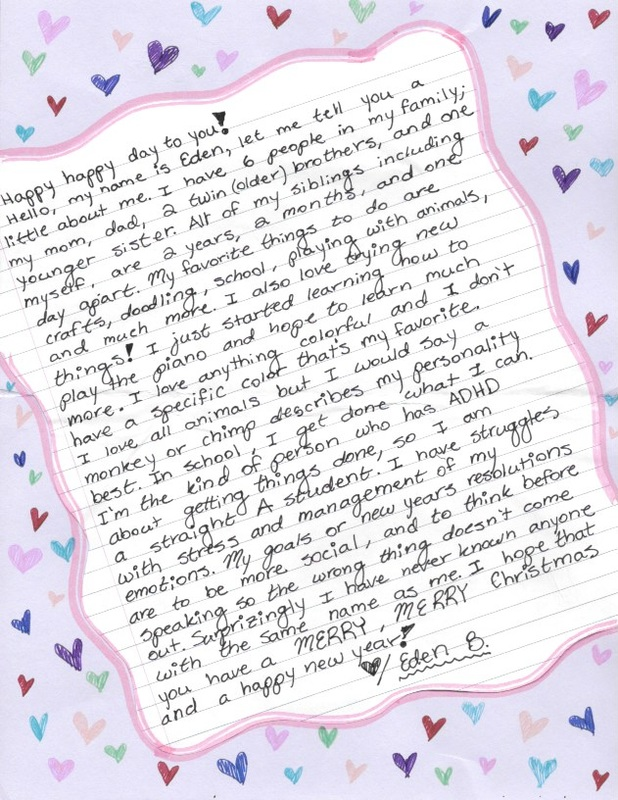 Kindness letter from little girl to elderly person