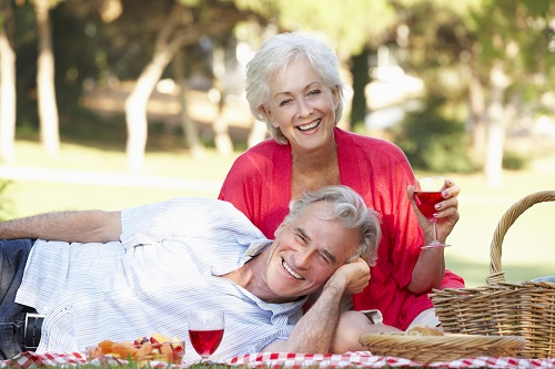 seniors on a picnic date; valentines day; live your retirement