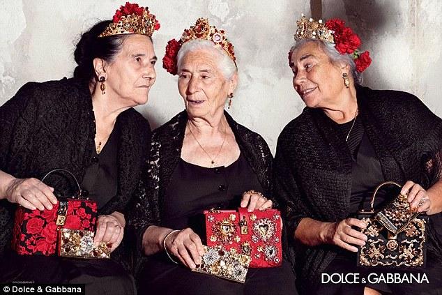Aging Italian grandmas modelling for Dolce & Gabbana