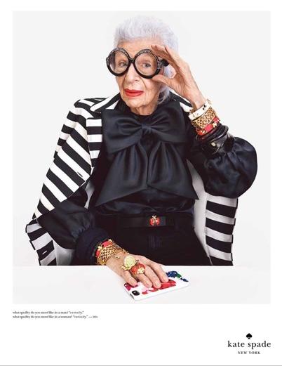 Iris Apfel, 94, modelling for Kate Spade