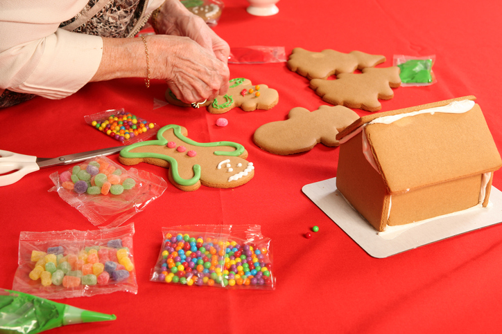 Grandma making Christmas treats.